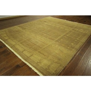 Modern Design Brown Gabbeh Hand-knotted Wool Area Rug (9' x 12', 9' x 10')