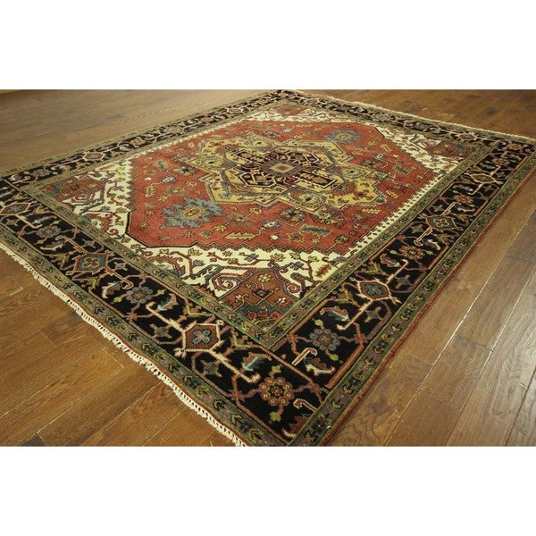 Hand Knotted Heriz Wool Fine Persian Oriental Area Rug: Shop Red And Black Heriz Serapi Hand-knotted Wool Oriental