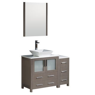 Link to Fresca Torino 42-inch Grey Oak Modern Bathroom Vanity with Side Cabinet and Vessel Sink Similar Items in Bathroom Vanities