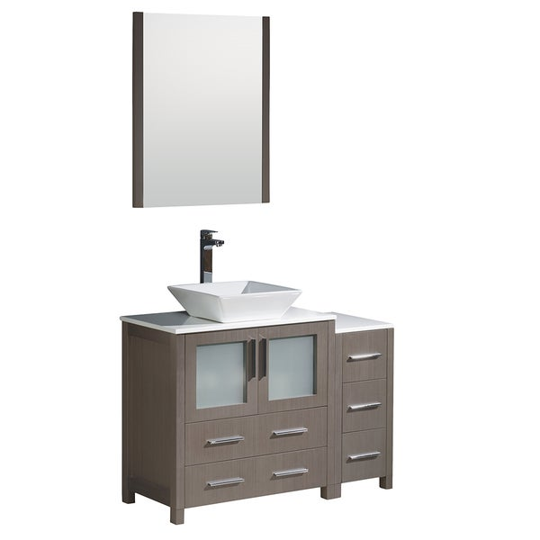 Shop Fresca Torino 42-inch Grey Oak Modern Bathroom Vanity With Side Cabinet And Vessel Sink