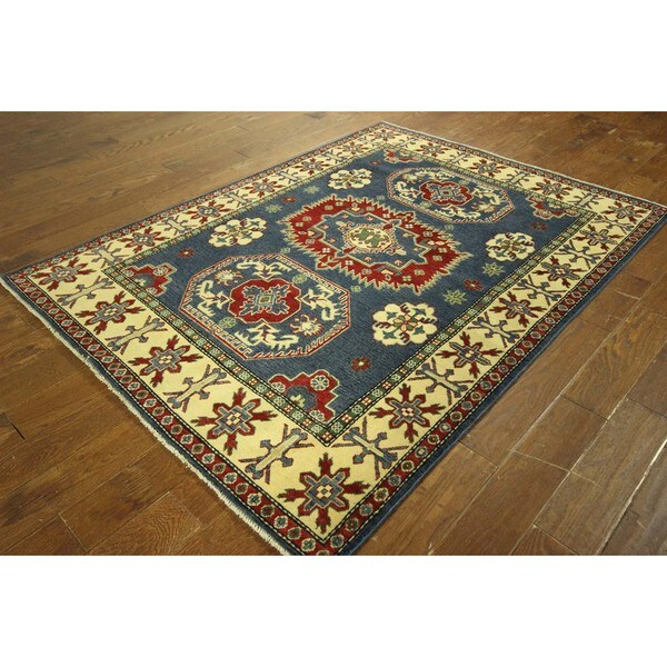 Oriental Persian Design Blue Super Kazak Hand knotted Wool