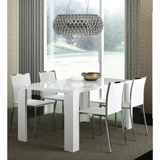 Luca Home High Gloss White Dining Table
