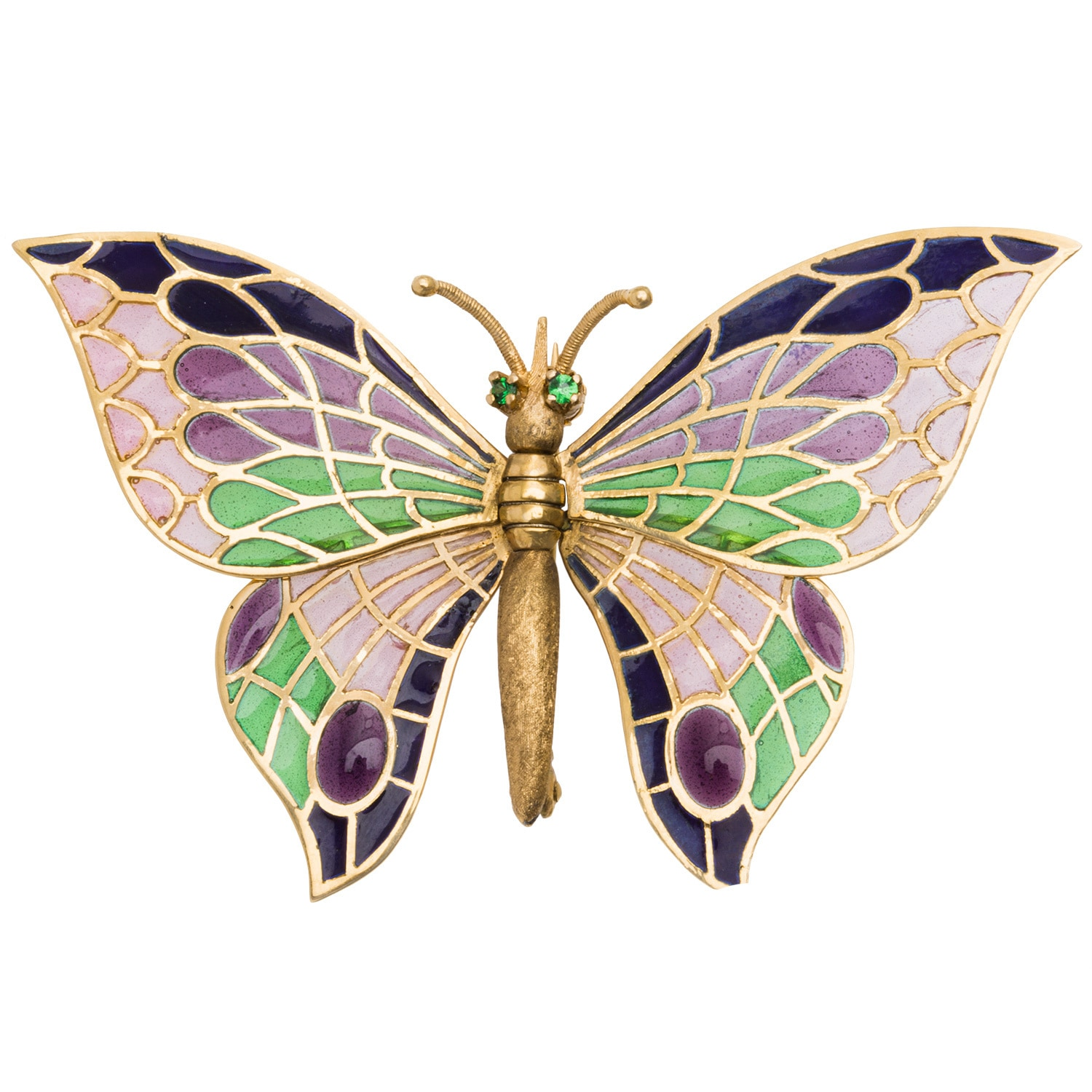 18k Yellow Gold Emerald Plique-a-jour Enameled Butterfly ...