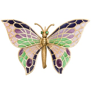 18k Yellow Gold Emerald Plique-a-jour Enameled Butterfly Estate Brooch