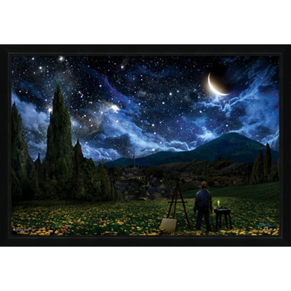 ... Starry Night Poster (24-inch x 36-inch) with Contemporary Poster Frame