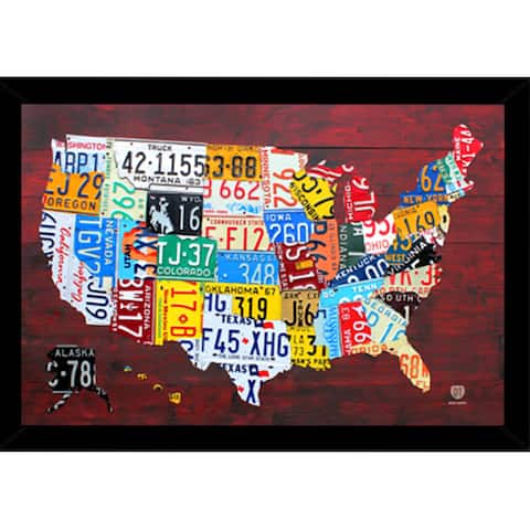 License Plate Map of the US (24-inch x 36-inch) with Contemporary Poster Frame - Red
