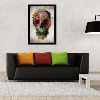 Flower Skull Poster (24-inch x 36-inch) with Contemporary Poster Frame