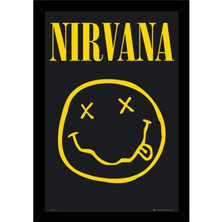 Nirvana Smiley Poster (24-inch x 36-inch) with Contemporary Poster Frame