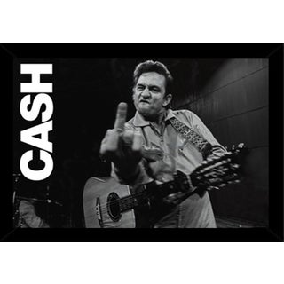 Johnny Cash San Quentin Finger Poster (24-inch x 36-inch) with Contemporary Poster Frame