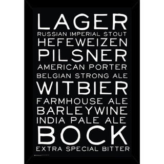 Beer Styles Black and White Poster (24-inch x 36-inch) with Contemporary Poster Frame