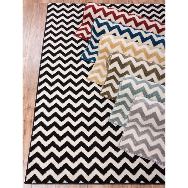 Modern Chevron Geometric Zigzag Stripe Area Rug (3'3 x 4'7)