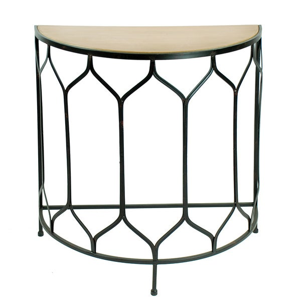 shop wood top 32 inch wide iron console table free shipping today overstock 10474336. Black Bedroom Furniture Sets. Home Design Ideas