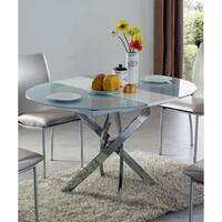 Luca Home Dining Table Clear/Metal Extendable - Silver