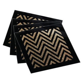 Allure Zig Zag Gold/ Black Coasters (Set of 4)
