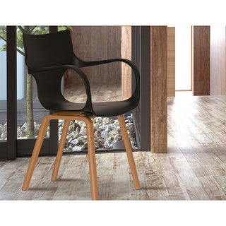 Black Curved Arm Modern Accent Chair (Set of 2)