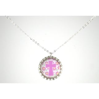 Be The Envy Lavender Cross Bottle Cap Necklace