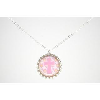 Be The Envy Light Pink Cross Bottle Cap Necklace
