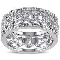 Miadora Sterling Silver 1/8ct TDW Diamond Ring