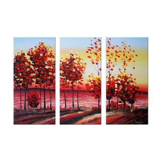Design Art 'Autumn Roads' Oil Painting - 42 x32 - 3 Piece