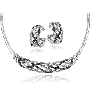 DB Designs Silvertone 1/2ct TDW Black & White Diamond Weave Omega Necklace and Earrings Set