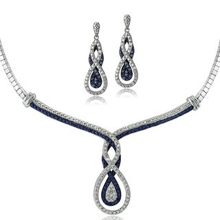 DB Designs Silvertone 1/2ct TDW Blue & White Diamond Intertwining Infinity Omega Necklace and Earrings Set