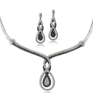 DB Designs Silvertone 1/2ct TDW Black & White Diamond Intertwining Infinity Omega Necklace and Earrings Set