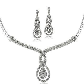 DB Designs Silvertone 1/2ct TDW White Diamond Intertwining Infinity Omega Necklace and Earrings Set