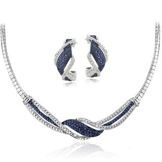 DB Designs Silvertone 1/2ct TDW Blue & White Diamond Twist Omega Necklace and Earrings Set