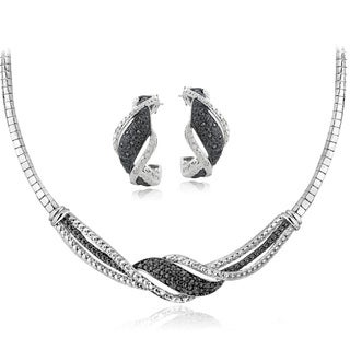 DB Designs Silvertone 1/2ct TDW Black & White Diamond Twist Omega Necklace and Earrings Set