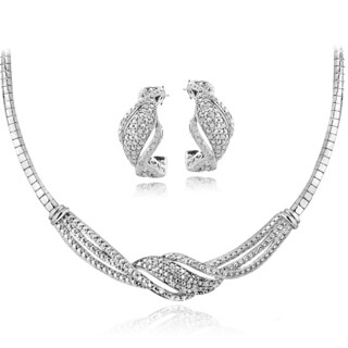 DB Designs Silvertone 1/2ct TDW White Diamond Twist Omega Necklace and Earrings Set