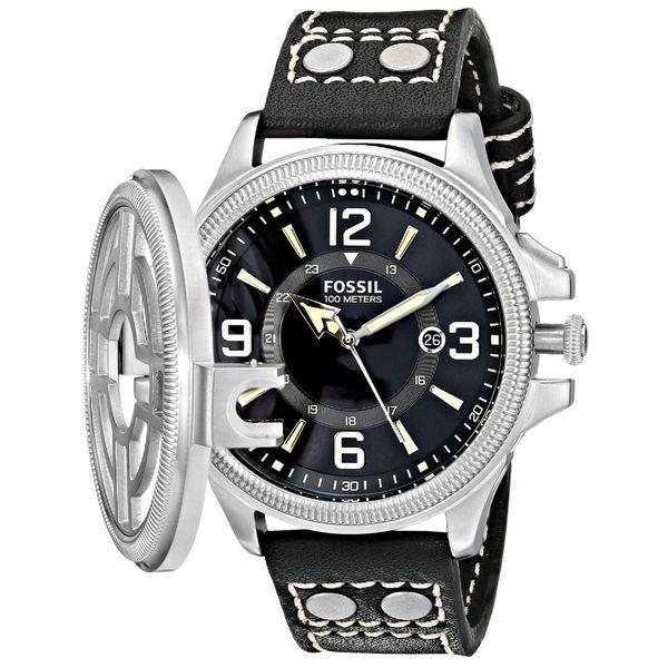 Fossil Men's Recruiter Rotating Shrapnel Guard Black Dial Black Leather Watch FS4978