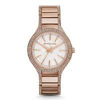 Michael Kors Women's Kerry Diamond White Designed Dial Rose-Tone Gold Stainless Steel Bracelet Watch