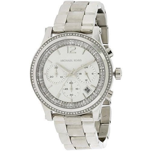 8aa03a76d6c3a Shop Michael Kors Women's Heidi Diamond Chronograph Silver Dial Stainless  Steel Bracelet Watch - Free Shipping Today - Overstock - 10474550