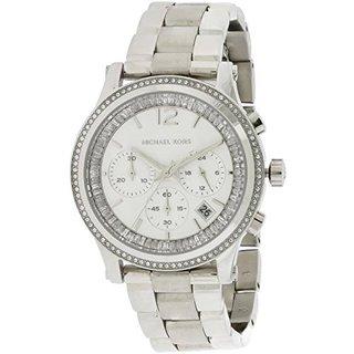 Michael Kors Women's Heidi Diamond Chronograph Silver Dial Stainless Steel Bracelet Watch MK6062