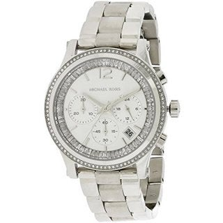 Michael Kors Women's Heidi Diamond Chronograph Silver Dial Stainless Steel Bracelet Watch MK6062