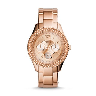 Fossil Women's Stella Multi-Function Diamond Rose-Tone Gold Stainless Steel Bracelet Watch ES3590