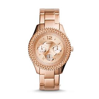 Fossil Women's Stella Multi-Function Diamond Rose-Tone Gold Stainless Steel Bracelet Watch ES3590