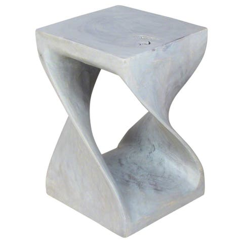 Haussmann Handmade Wood Original Twist Stool 12 in SQ x 18 in H Agate Grey Oil - 12 x 12 x 18