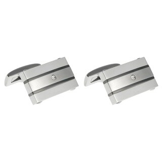 Stainless Steel Men's Cubic Zirconia Cuff Links