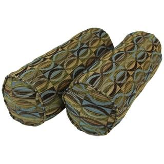 Blazing Needles Corded Earthen Waves Jacquard Chenille Bolster Pillows (Set of 2)