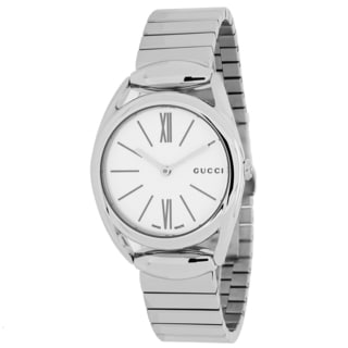 Gucci Women's YA140505 Horsebit Round Silvertone Stainless Steel Bracelet Watch