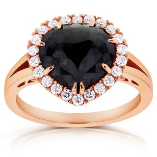 Annello 14k Rose Gold 2 3/4ct TDW Pear Shape Black Diamond Halo Split Shank Antique Ring (G-H, I1-I2)