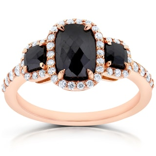 Annello by Kobelli 14k Rose Gold 2ct TDW Cushion Three Stone Black and White Diamond Ring