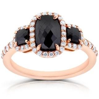 Annello 14k Rose Gold 2ct TDW Cushion Three Stone Black and White Diamond Ring (G-H, I1-I2)