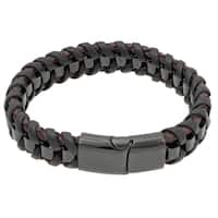 Stainless Steel and Braided Leather Bracelet