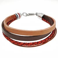 Stainless Steel Multi Layer Leather Bracelet