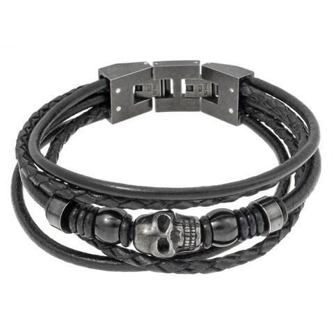 Stainless Steel and Black Leather Skull Bracelet