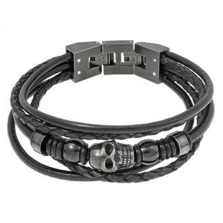 Stainless Steel and Black Leather Skull Bracelet