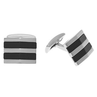 Stainless Steel Men's Black Onyx Cuff Links