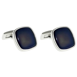 Stainless Steel Men's Blue Cat's Eye Cuff Links